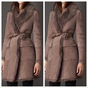 Burberry revere shearling fur suede trench coat